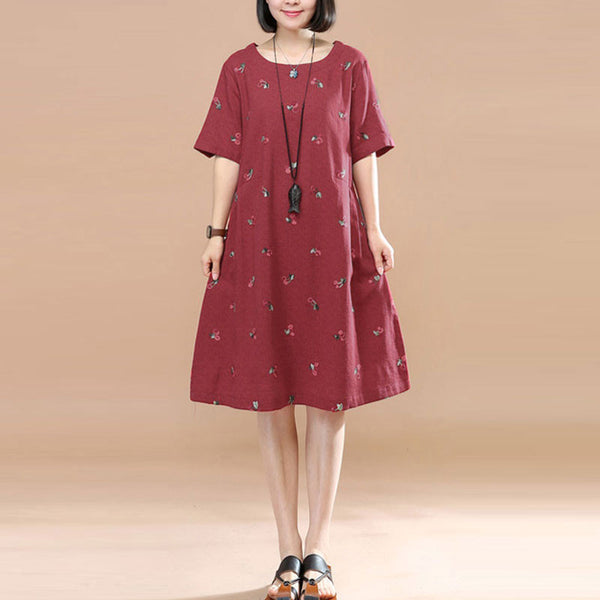 Sweet Cherry Image Round Neck Short sleeve Pleated Women Red Dress - Buykud