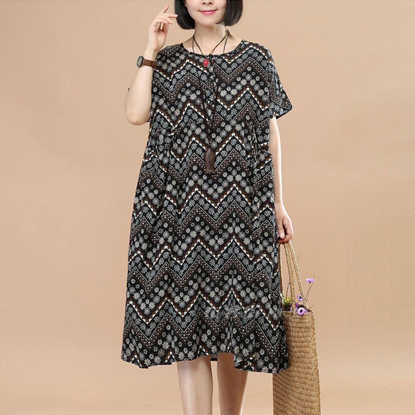 Vintage Cotton Linen Printing Short Sleeves Women Coffee Dress - Buykud