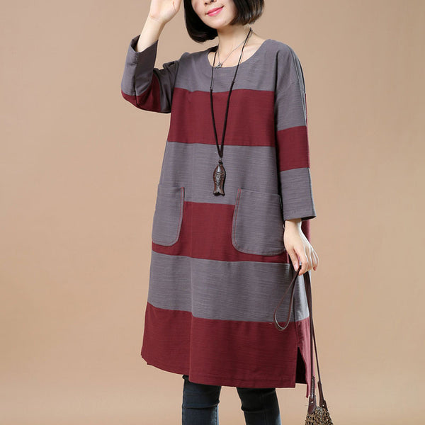 Spring Casual Loose Pocket Splicing Gray And Red Shirt Dress