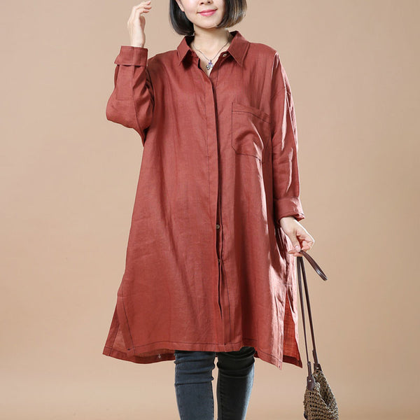 Cotton And Linen Retro Casual Red Shirt