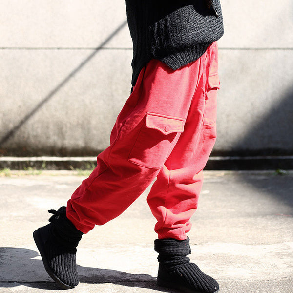 Autumn Winter Casual Women Cotton Lacing Red Pants - Buykud