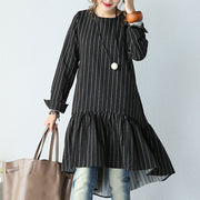 Women Round Neck Stripe Lotus Leaf Long Sleeve Black Dress - Buykud