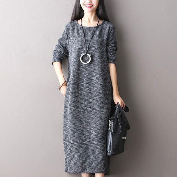 Gray Stretch Cotton Knit Dress