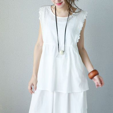 Graceful Cotton Lace Strap Hole Sleeveless Women White Shirt - Buykud