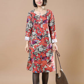 Spring Women Floral Round Neck Dress - Buykud