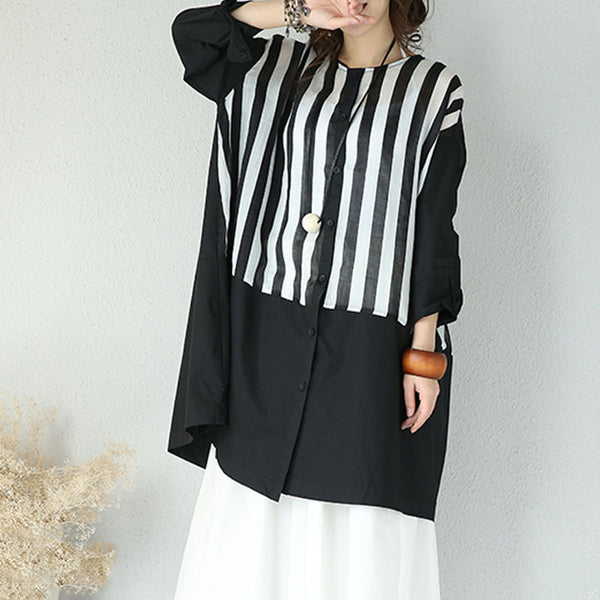Round Neck Stripe Single Breasted Long Shirt - Buykud