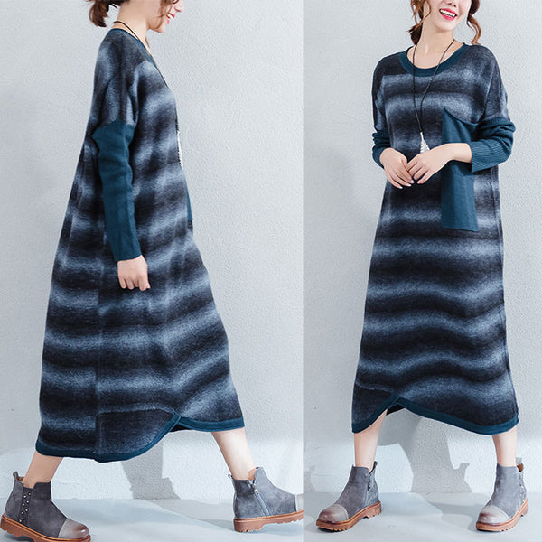 Striped Pocket Irregular Dress