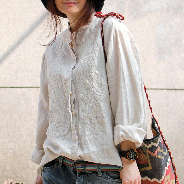 Linen Embroidered Stand Collar Shirt
