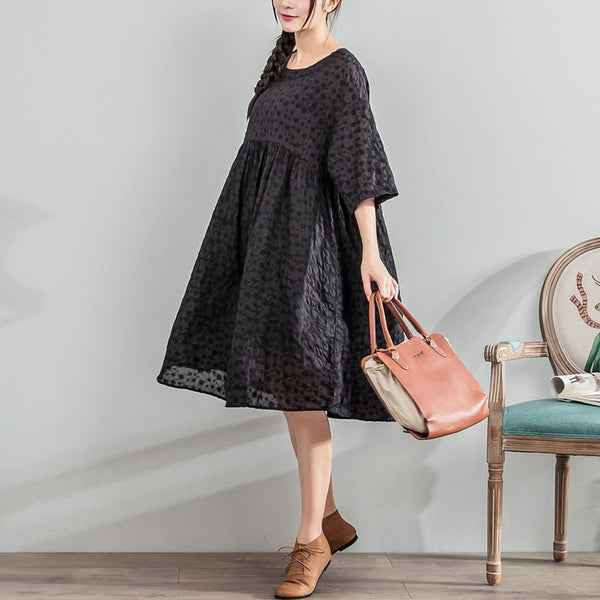 Women Jacquard Dot Loose Casual Linen Cotton Black Dress