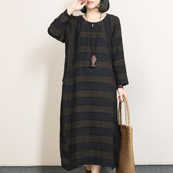 Retro Stripe Splicing Linen Loose Coffee Dress