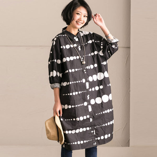 Spring Cotton Dot Long Shirt