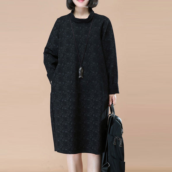 Retro Thick Turtle Neck Long Sleeves Black Winter Women Dress - Buykud