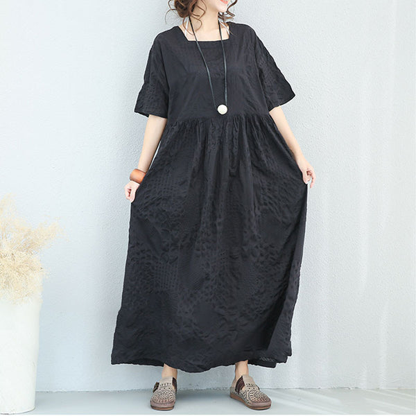 Cotton Women Loose Summer Casual Folded Black Short Sleeves Dress - Buykud