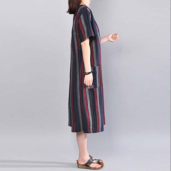 Women Loose Casual Cotton Stripe Summer Red Dress