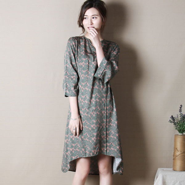 Spring Retro Three Quarter Sleeves Irregular Dress - Buykud