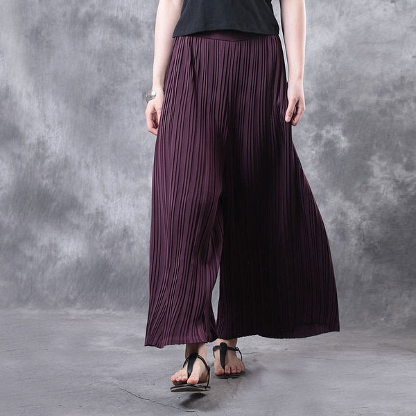 Summer Women Literature Retro Wide Leg Wine Red Pants