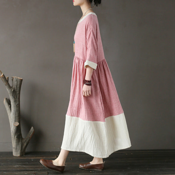 Cotton Pink Loose Round Neck Long Women Dress