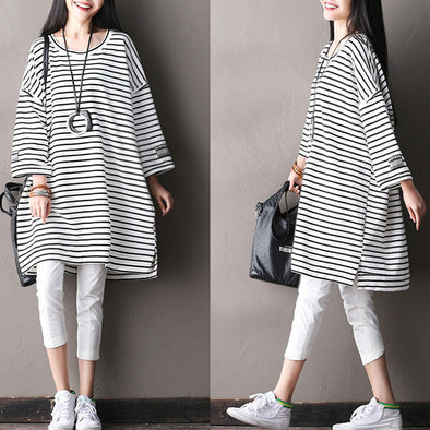 Splicing Women Loose Stripe Cotton Irregular White Shirt - Buykud