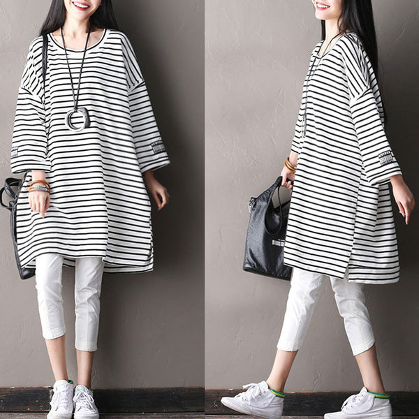 Splicing Women Loose Stripe Cotton Irregular White Shirt