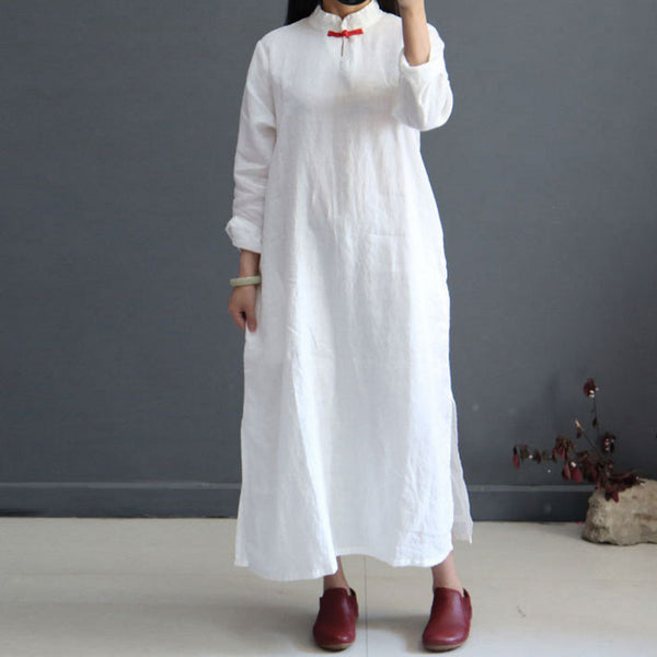 Women Literature Retro Linen Stand Collar Long Sleeves White Dress - Buykud