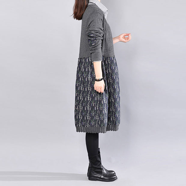 Leisure Women Spring Autumn Knitting Splicing Printing Gray Dress - Buykud