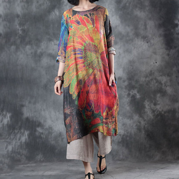 Retro Printed Round Neck Long Sleeve Spring Summer Dress - Buykud