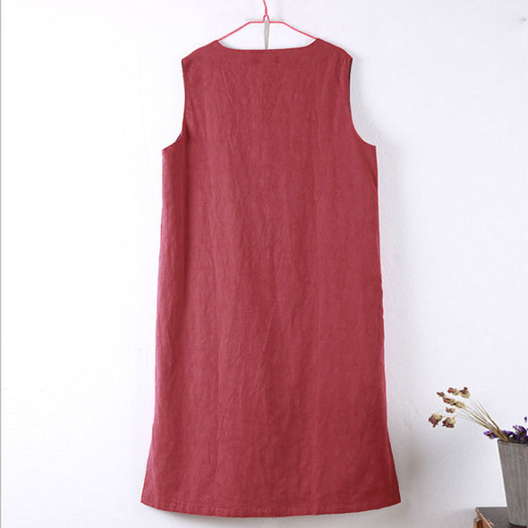 Ethnic Cotton Linen Jacquard Chic Frog Sleeveless Women Dress - Buykud