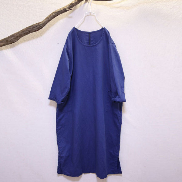 Round Neck Loose Linen Retro Dark Blue Dress