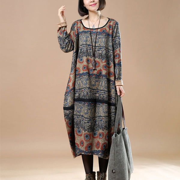 Retro Round Neck Printing Spring Women Dress
