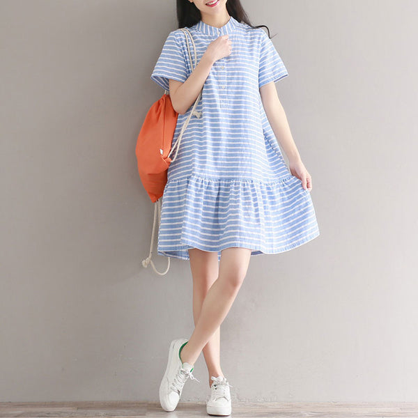 Preppy Chic Stripe Flouncing Short Sleeves Light Blue Dress