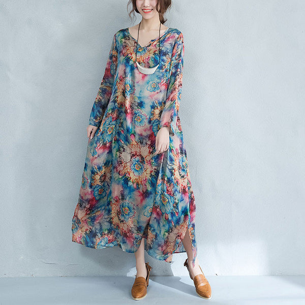 Women Irregular Casual Retro Floral Silk Dress