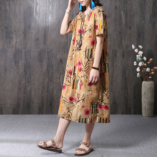 Ethnic Floral Printing Women Coffee Dress