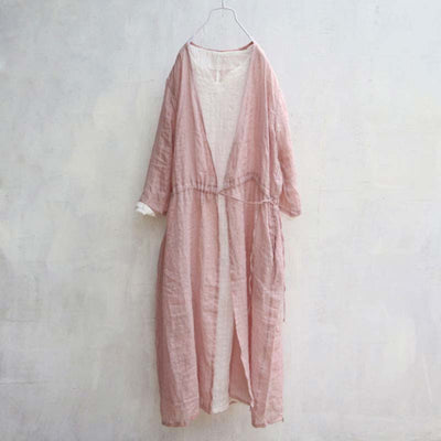 Spring Summer Loose Long Sleeve Lacing Pink Coat - Buykud
