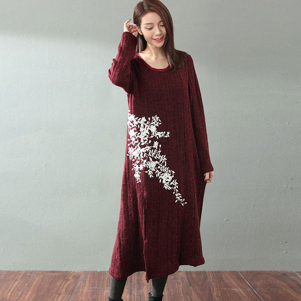 Embroidered Wool Knit Dress