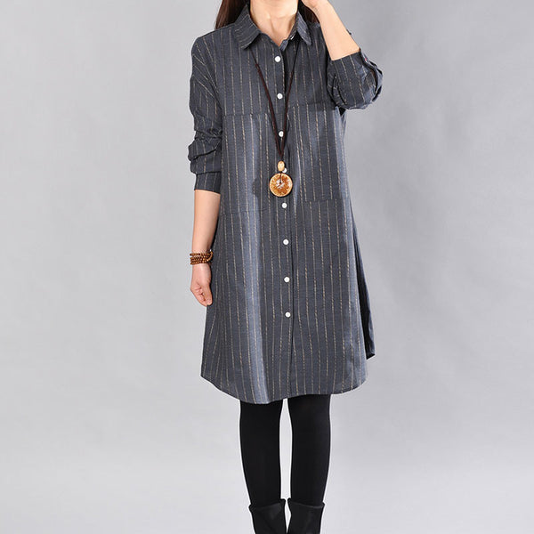 Spring Women Stripe Blue Long Shirt