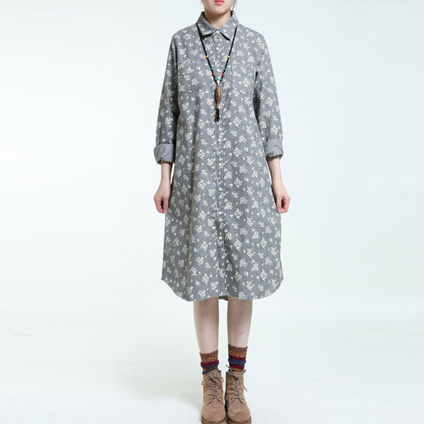 Spring Printing Gray Long Sleeves Dress