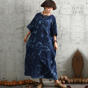 Loose Cotton Linen Women Round Neck Short Sleeve Dress - Buykud