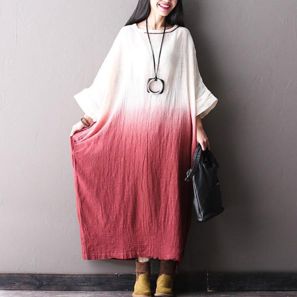Bat Sleeve Cotton Linen Pullover Dress