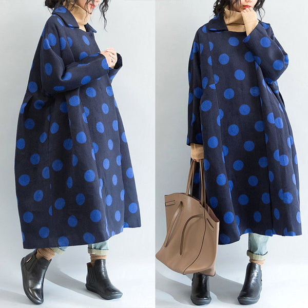 Dot Loose Wool Coat - Buykud