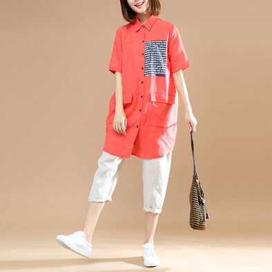 Summer Casual Double Pocket Red Long Shirt - Buykud