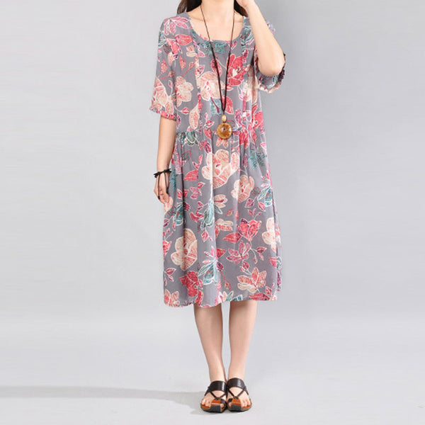 Printing Loose Round Neck Short Sleeve Women Gray Dress