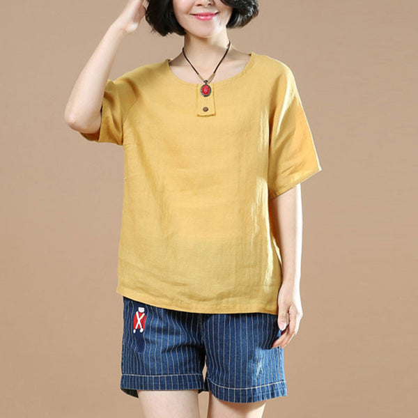 Loose Linen Women Casual Cotton Straight Yellow Shirt