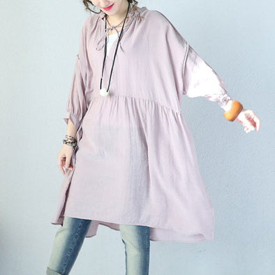 V Neck Laced Lantern Sleeve Pink Dress - Buykud
