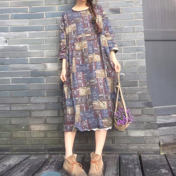 Printing Round Neck Loose Casual Blue Dress - Buykud