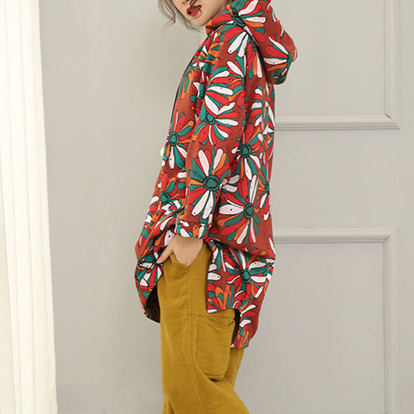 Printed Hooded Sweater - Buykud
