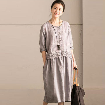 Hollow Loose Women Casual Cotton Splicing Gray Dress - Buykud