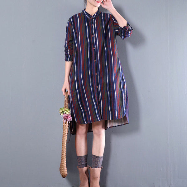 Women Loose Colorful Stripe Blue Shirt