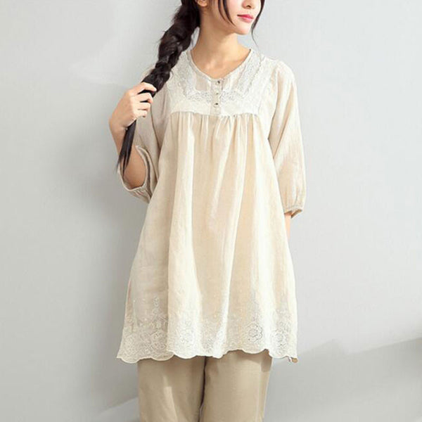 Embroidered Linen Loose Shirt