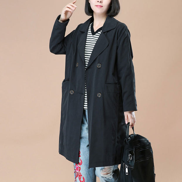 Literature Polo Collar Long Sleeves Black Women Coat - Buykud