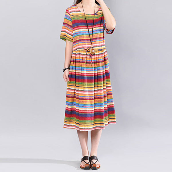 Colorful Stripes Round Neck Short Sleeve Loose Women Red Dress